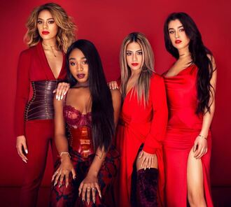 dress slit dress red dress fifth harmony bodysuit bustier top pants belt ally brooke dinah jane hansen dinah hansen lauren jauregui normani kordei hamilton normani hamilton