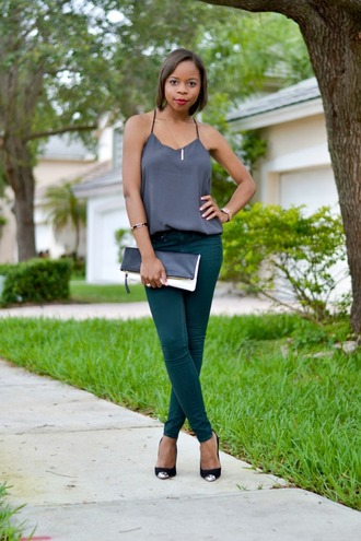 cha cha the fashion genius blogger tank top jeans shoes jewels bag