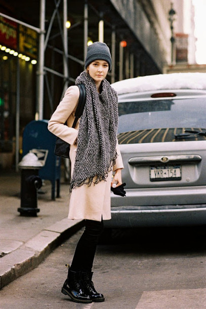 vanessa jackman blogger coat knitted scarf DrMartens