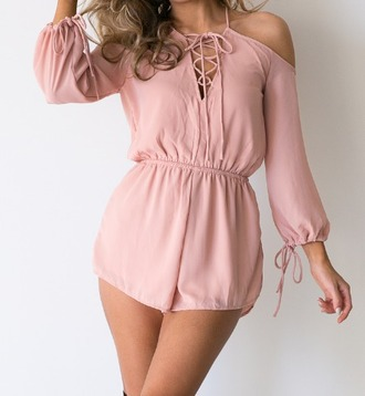 romper girl girly girly wishlist pink shorts romper tie up lace up