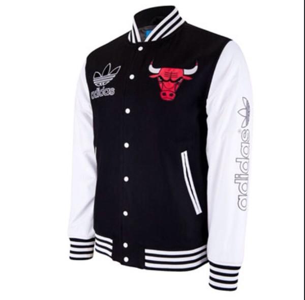 jacket chicago bulls chicago chicago bulls adidas adidas style black and white black white red