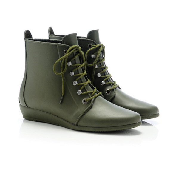 army green shoes rain boots cute high heels army boots