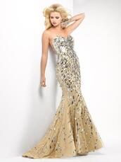 dress,clothes,girl,blonde hair,model,gold,silver,sequins,boob tube,mermaid prom dress,maxi,long dress