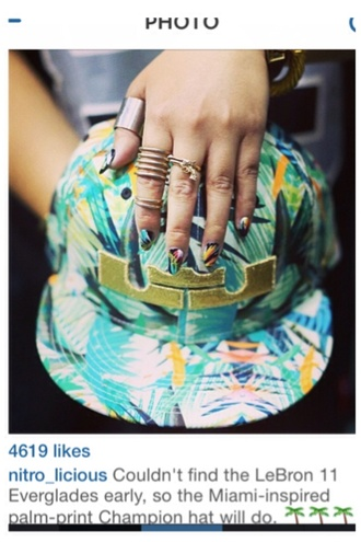 miami inspire palm tree print champion hat
