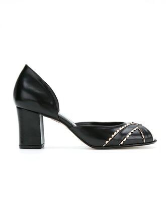 women pumps leather blue shoes