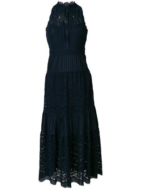Temperley London dress midi dress women midi lace cotton blue