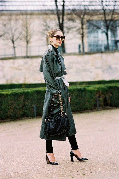 trench coat blogger bag forest green vanessa jackman