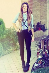 shirt,shoes,top,blue,collared shirts,blouse
