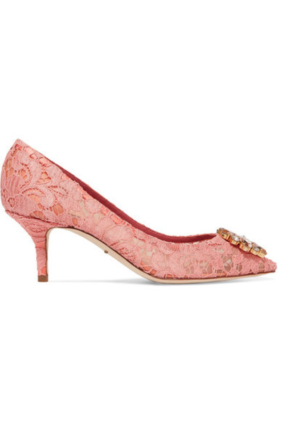 embellished pumps lace pink bright shoes