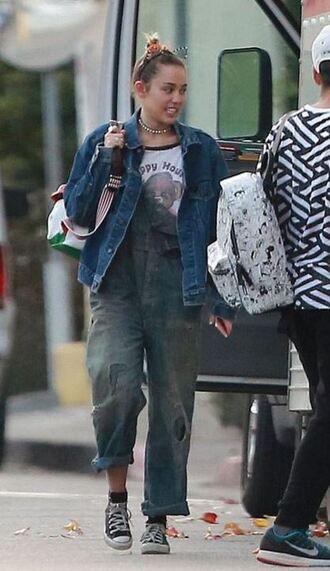 top miley cyrus jeans overalls sweatshirt