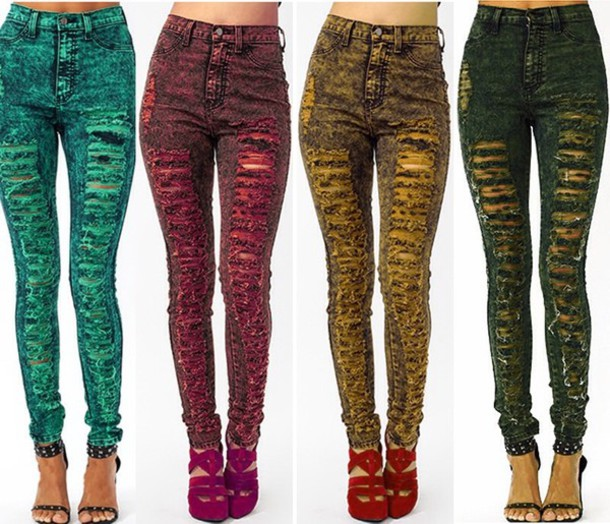 Ripped Colored Jeans - Xtellar Jeans