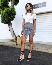 skirt,white top,crop tops,top,bag,platform sandals,gingham,gingham skirt,sunglasses,sandals