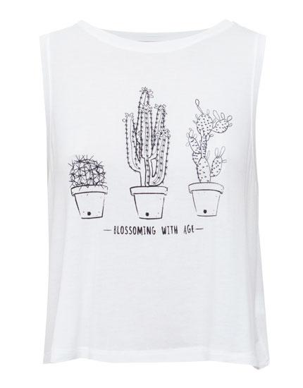 shirt mit kaktus shirts und tops damen pull bear deutschland. Black Bedroom Furniture Sets. Home Design Ideas