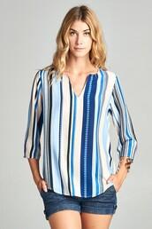 blouse,blue,stripes,v neck,vertical stripes
