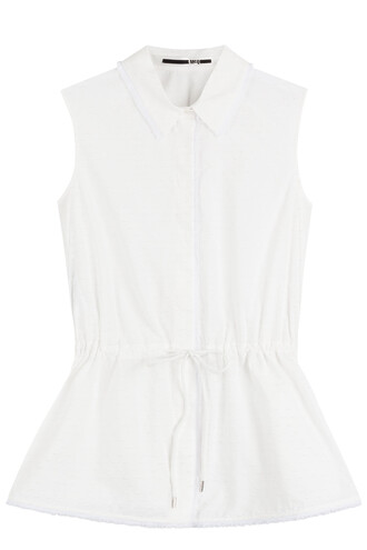 top sleeveless drawstring cotton white