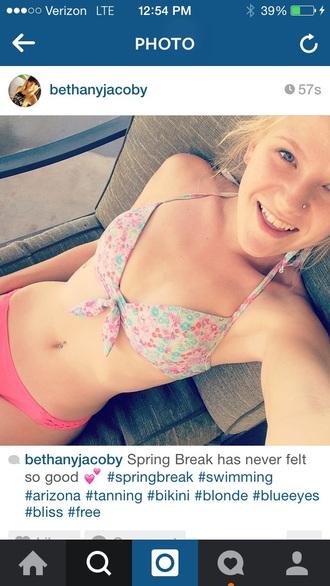 swimwear pink swimwear floral swimwear
