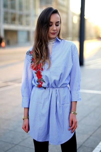 dress tumblr blue dress shirt dress striped dress stripes long sleeves long sleeve dress embroidered embroidered dress long hair brunette bracelets jewels jewelry