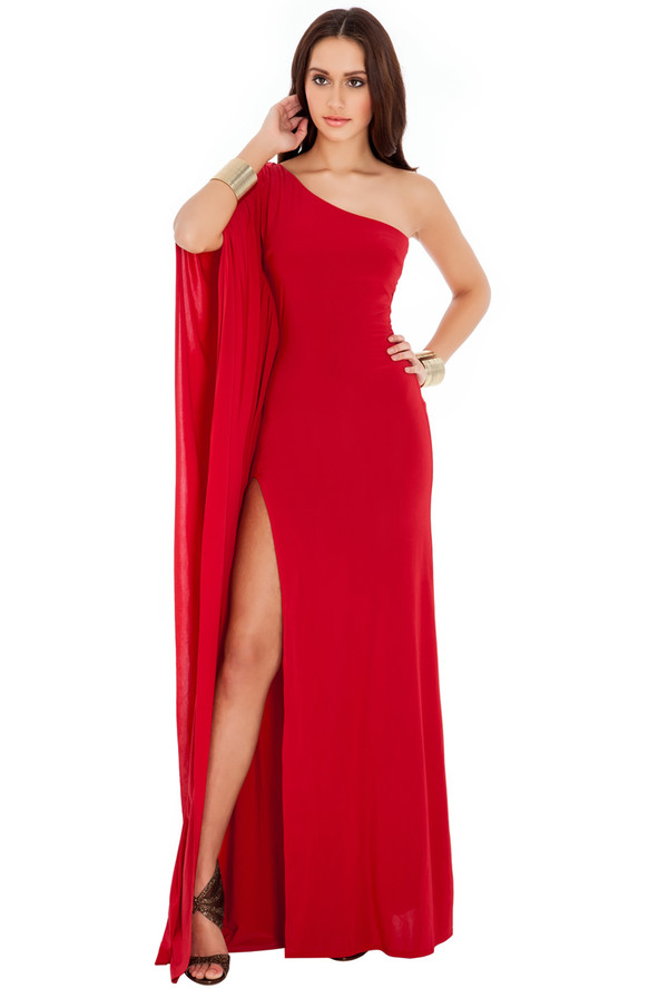 dress maxi jennifer lopez one shoulder red carpet high split red dress elegant sassy red navy black