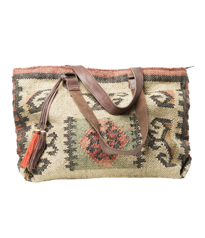 Large jacquard pattern handbag
