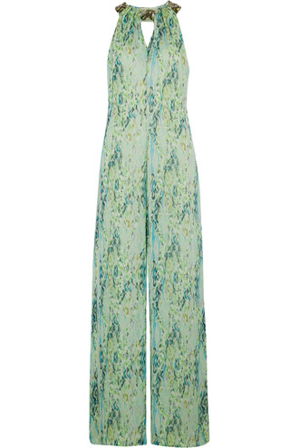 jumpsuit snake chiffon embellished print silk light green