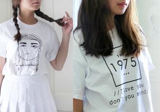 shirt aesthetic t-shirt the 1975 white boho girl skirt grunge indie kawaii kawaii grunge pale