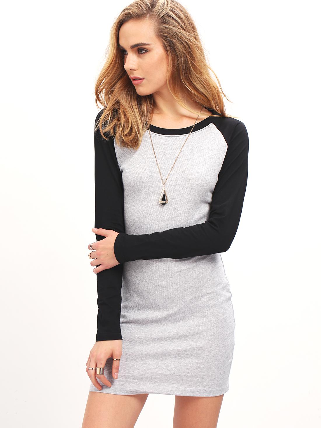 aefbfe3b4b Grey Black Long Sleeve Color Block Bodycon Dress -SheIn(Sheinside)