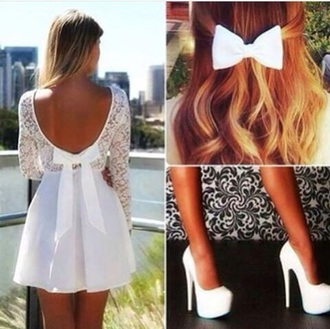 dress white lace detail backless bow elegant fancy prom summer spring garden party sweet teenagers cute cool tumblr sleeves long short cut above knee length tan skirt skater