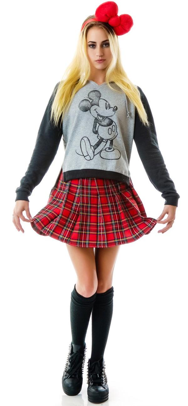 skirt plaid plaid skirt mickey mouse disney disney disney sweater sweater shoes preppy