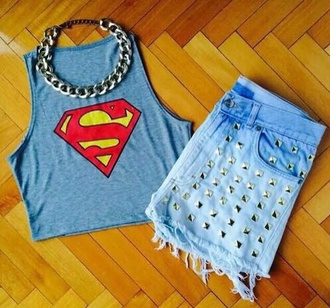 top superman chain tank top shorts
