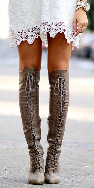 shoes over the knee boots boots boho boho chic taupe lace up boots high heel boots thigh high boots