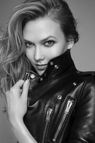 jacket biker jacket karlie kloss editorial leather jacket