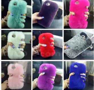 phone cover fluffy multicolor