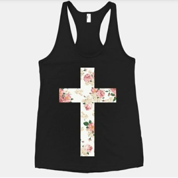 black shirt foral cross shirt