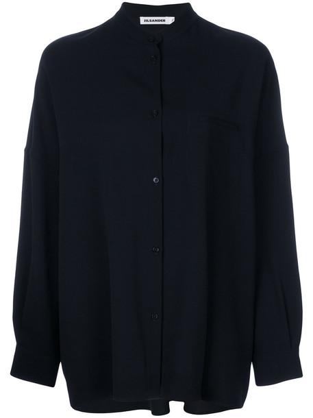Jil Sander shirt women spandex blue wool top