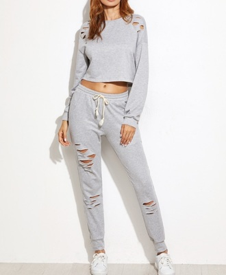 jumpsuit girly girl girly wishlist grey grey sweater crop tops crop cropped cropped sweater joggers joggers pants matching set two-piece