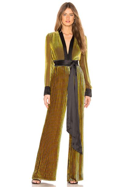 Diane von Furstenberg Sash Jumpsuit in yellow