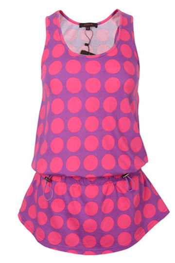 Contrast Color Dot print Vest in Purple [DLN0047] - PersunMall.com
