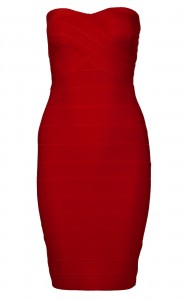 Celeb red strapless bodycon bandage dress