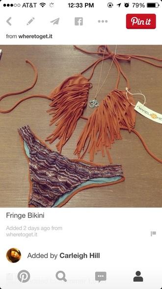 swimwear fringe bikini cute summer string bikini