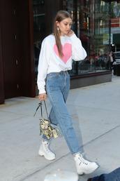 sweater,sweatshirt,top,streetstyle,casual,denim,jeans,gigi hadid,model off-duty