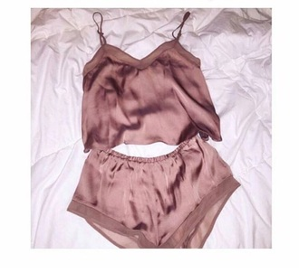 pajamas mauve silk shorts mauve silk sleepwear tank top