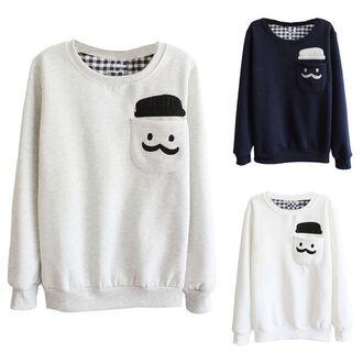 sweater snowman winter outfits crewneck sweatshirt moustache white cute love snow