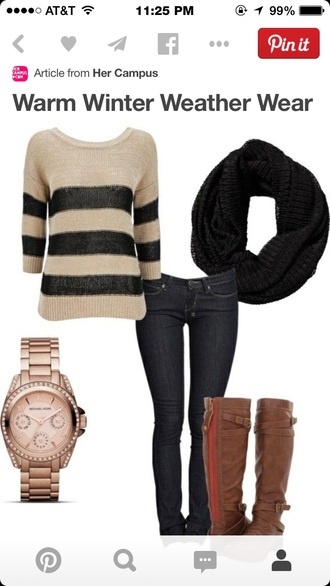 tan and black sweater black jeans black scarf brown leather boots