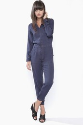 jumpsuit,navy,navy jumpsuit,navy jumper,flight suit,button down,one piece,casual,fall outfits