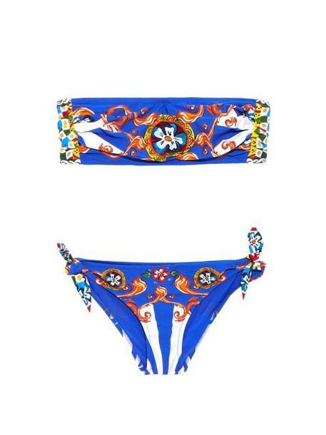 DOLCE & GABBANA Carreto-print bandeau bikini in blue / multi
