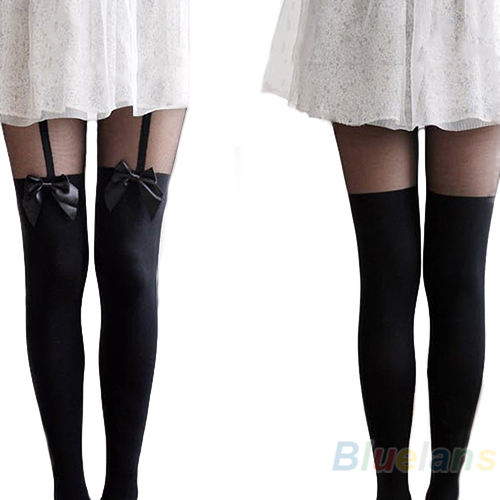 Fashion Vintage Tights Pantyhose Tattoo Mock Bow Suspender Sheer Stockings Bhau | eBay