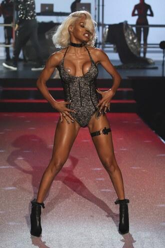 underwear bodysuit lingerie sexy edgy teyana taylor nyfw 2017 ny fashion week 2017 philipp plein