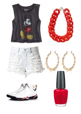 shorts mickey mouse necklace nail polish red nail polish red necklace high waisted shorts shirt shoes jewels
