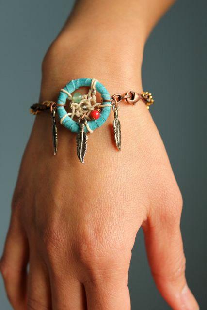 Turquoise dream catcher bracelet by thepurpleshmurple on etsy
