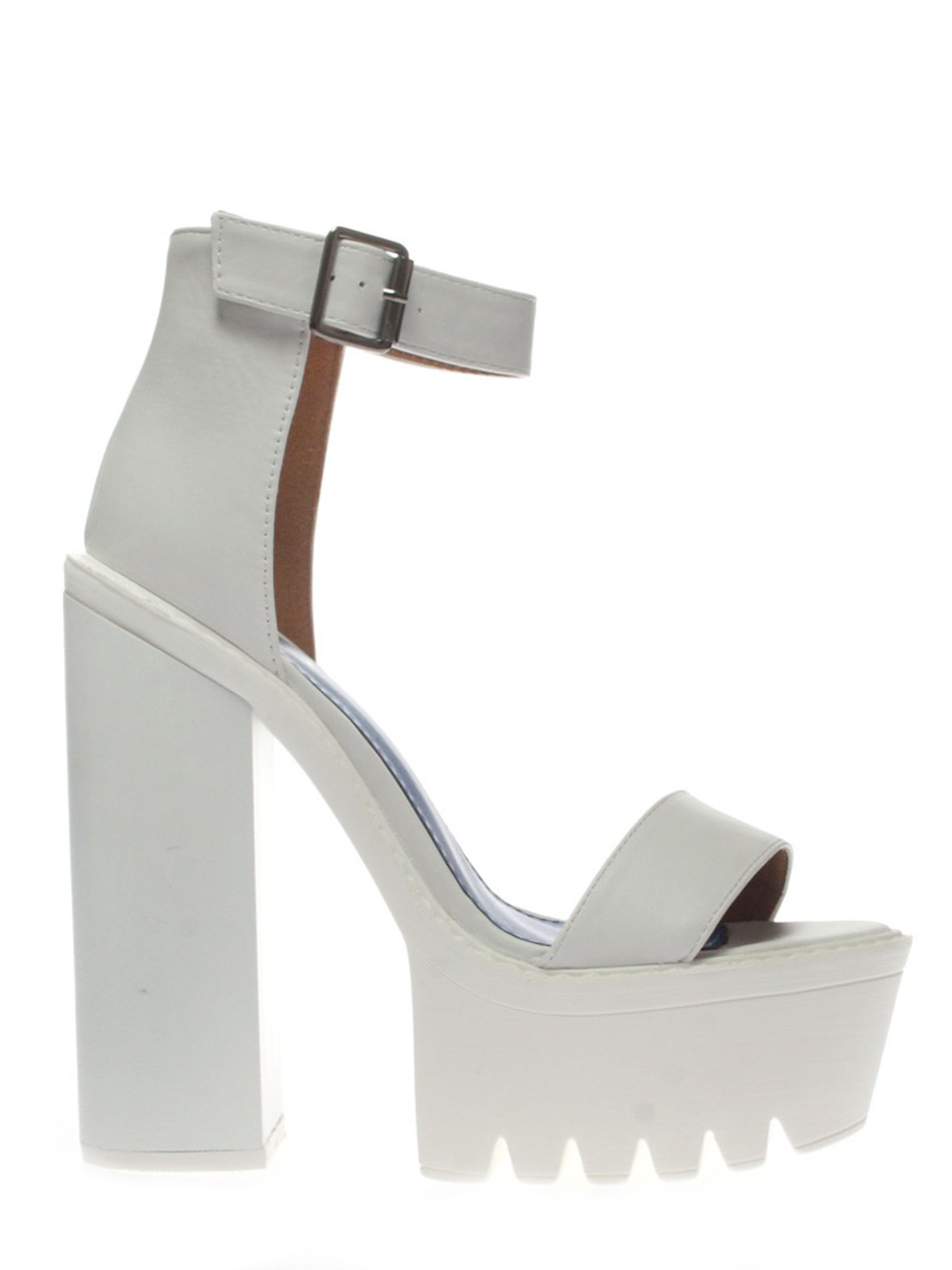 White Chunky Platform Heels - Is Heel